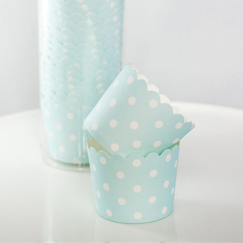Blue with White Polkadot Baking Cups