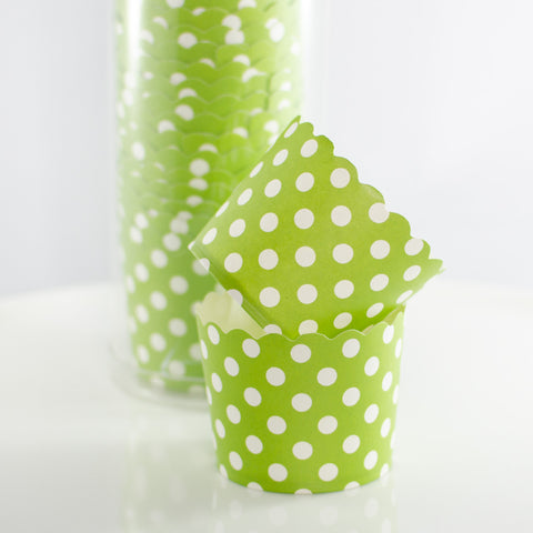 Green with White Polkadot Baking Cups