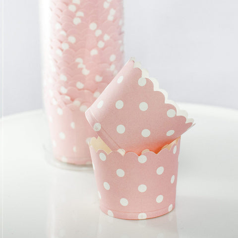 Pink with White Polkadot Baking Cups