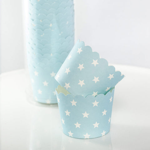 Blue with White Stars Baking Cups