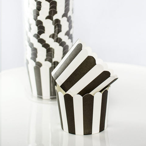 Black and White Striped Baking Cups