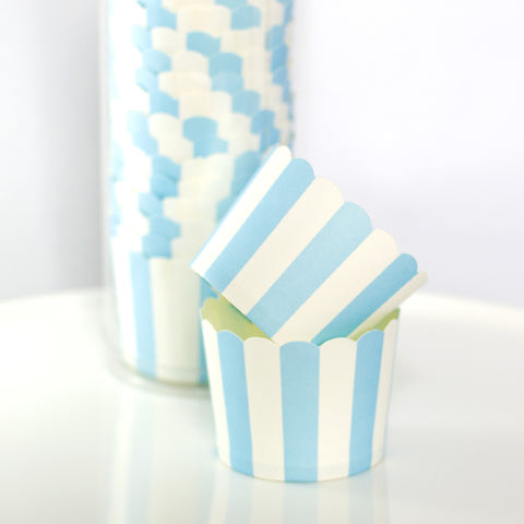 Blue & White Striped Baking Cups