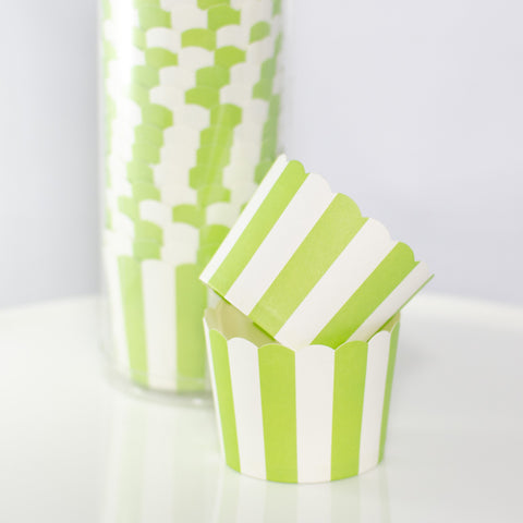 Green & White Striped Baking Cups