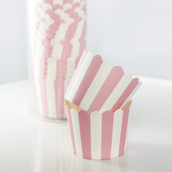Pink and White Striped Baking Cups