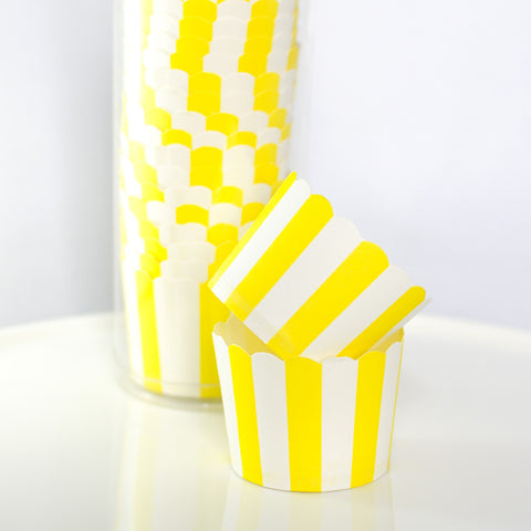 Yellow & White Striped Baking Cups