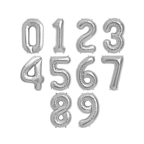 Siver Mylar Number Balloons