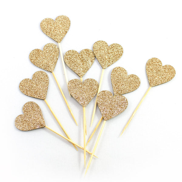 Bronze Hearts Cupcake Toppers