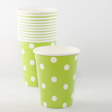 Apple Green Polkadot Paper Cups