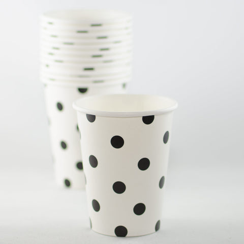 Black & White Polkadot Paper Cups