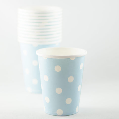 Pale Blue with White Polkadot Paper Cups