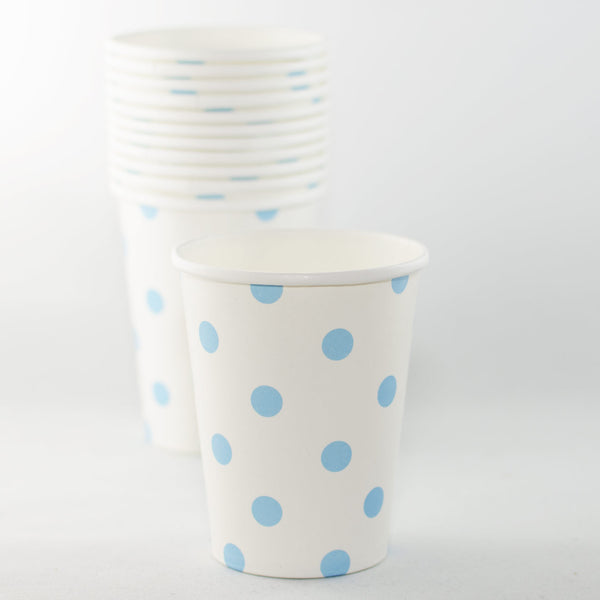 White with Pale Blue Polkadot Paper Cups