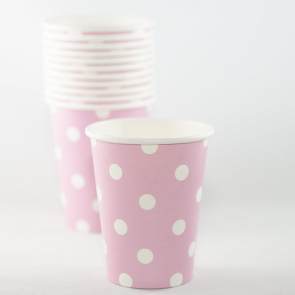 Pink with White Polkadot Paper Cups