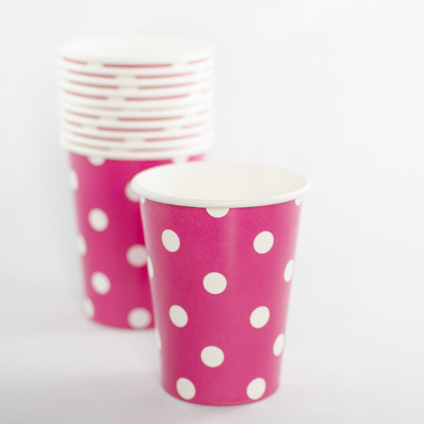 Raspberry with White Polkadot Paper Cups