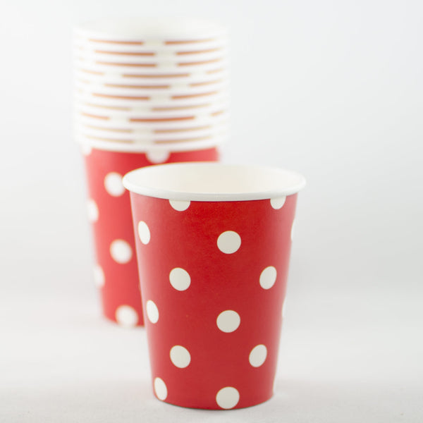 Red with White Polkadot Paper Cups