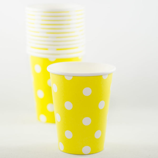 Yellow with White Polkadot Paper Cups