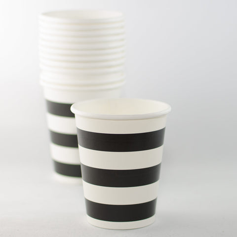 Black & White Striped Paper Cups