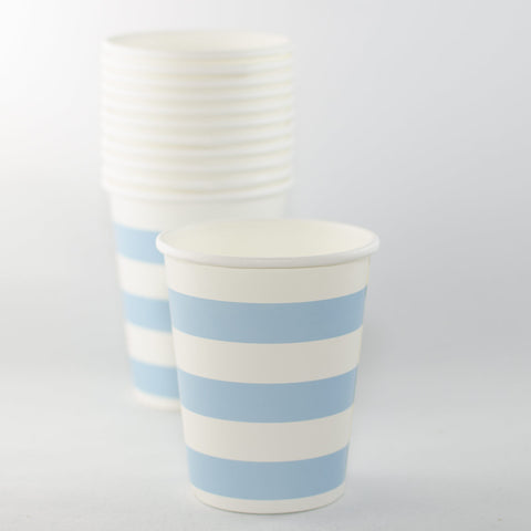 Blue & White Striped Paper Cups