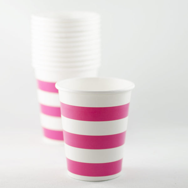 Raspberry & White Striped Paper Cups