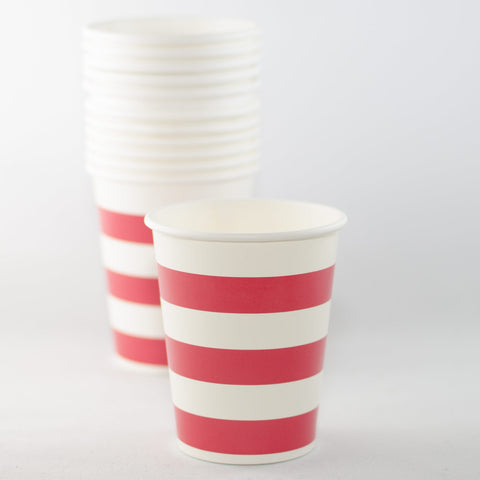 Red & White Striped Paper Cups