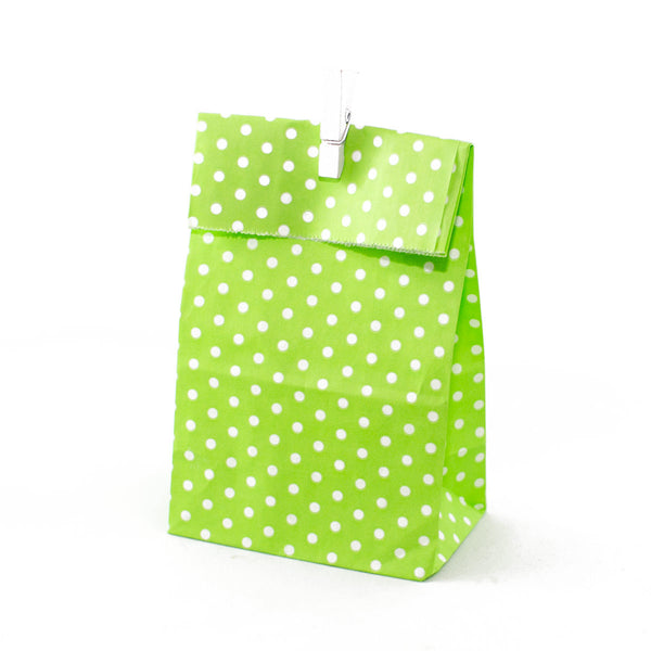 Green Polkadot Party Favour Bags