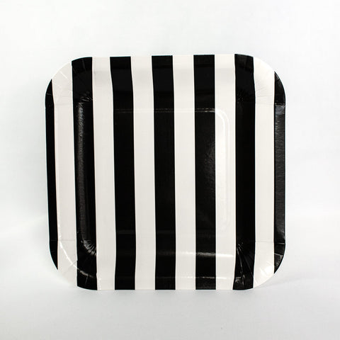 Black & White Stripe Square Plates