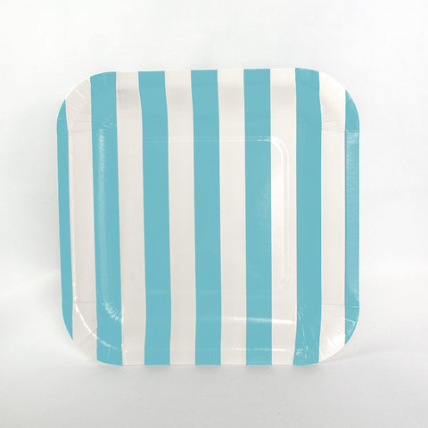 Pale Blue Stripe Square Plates