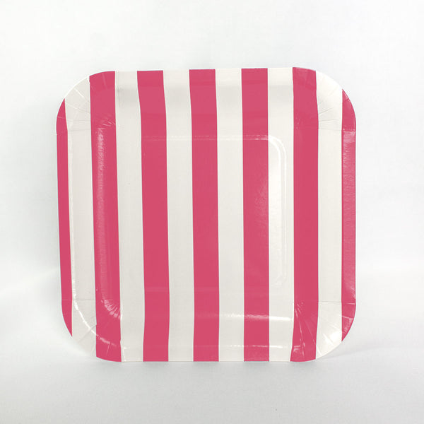 Hot Pink Stripe Square Plates