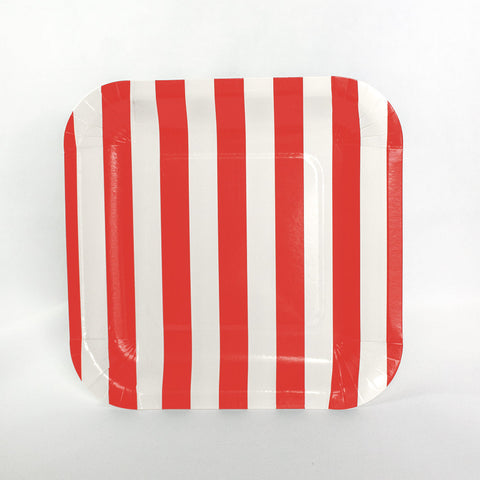 Red Stripe Square Plates