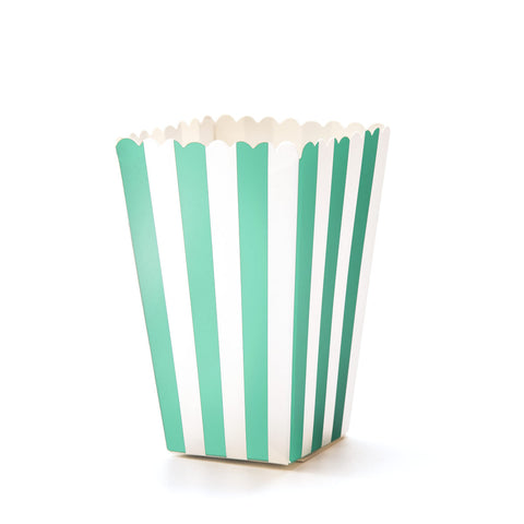 Aqua & White Striped Popcorn Boxes