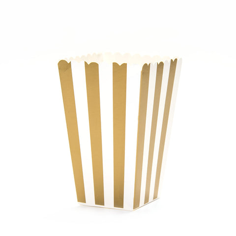 Gold Striped Popcorn Boxes