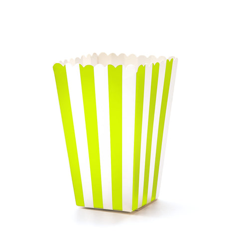 Green & White Striped Popcorn Boxes