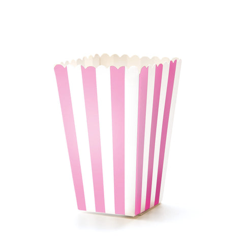 Pink & White Striped Popcorn Boxes