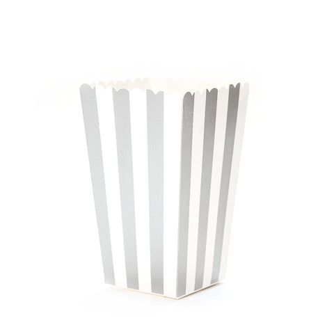 Silver Striped Popcorn Boxes
