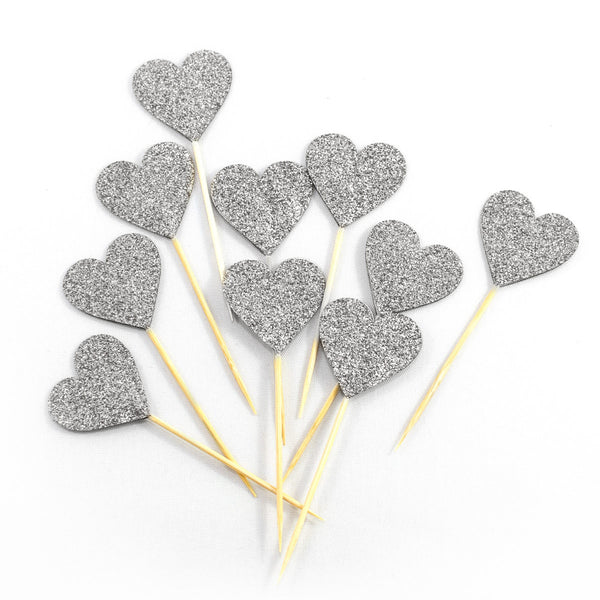 Silver Hearts Cupcake Toppers