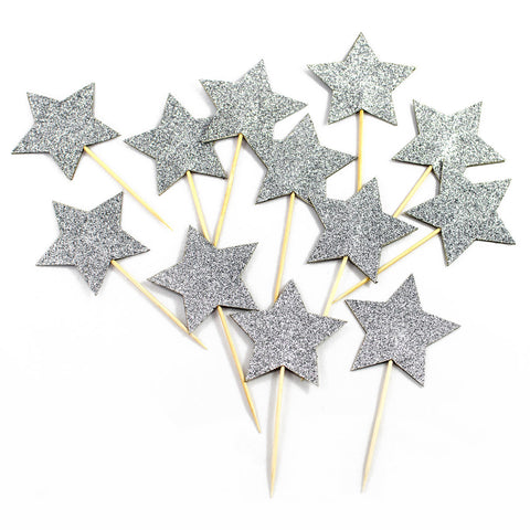 Silver Star Cupcake Toppers