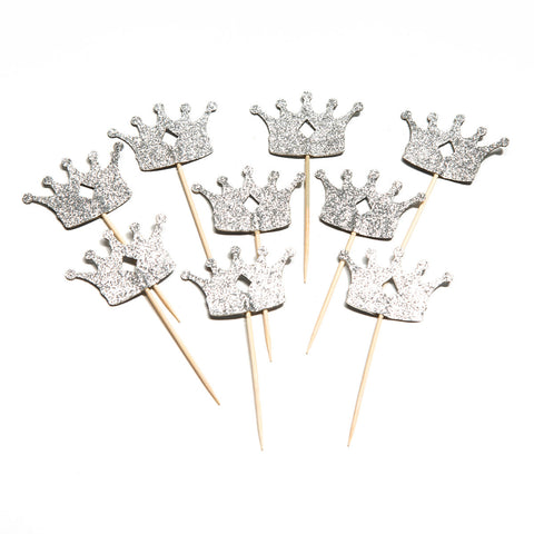 Silver Crown Cupcake Toppers
