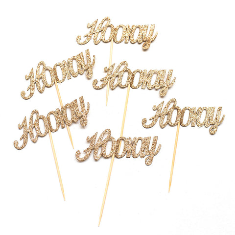 Gold Hooray Cupcake Toppers