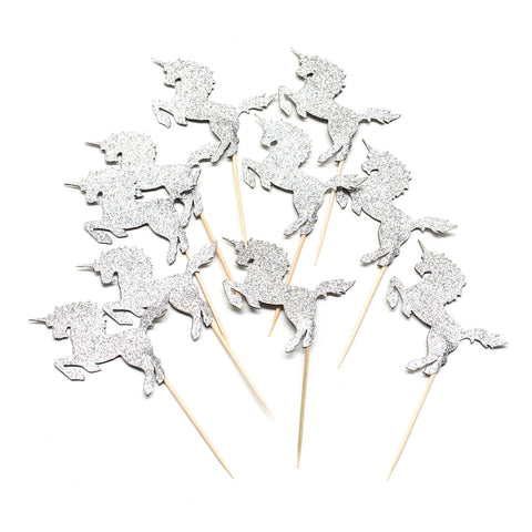 Silver Unicorn Cupcake Toppers