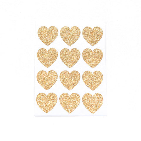 Gold Glitter Small Heart Stickers