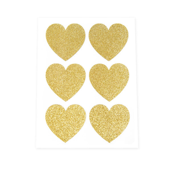 Gold Glitter Heart Stickers
