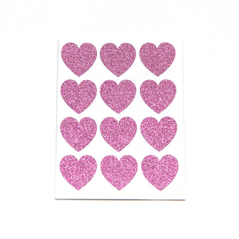 Hot Pink Glitter Small Heart Stickers