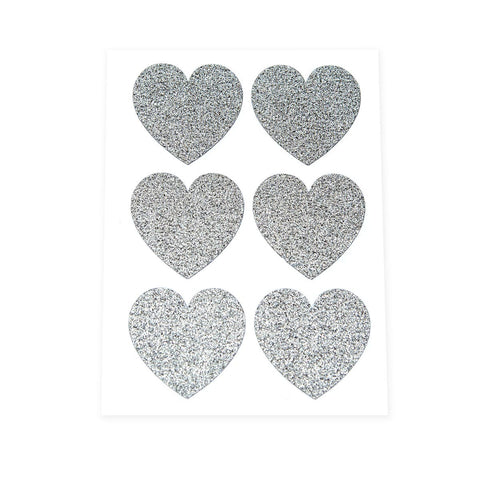 Silver Glitter Heart Stickers