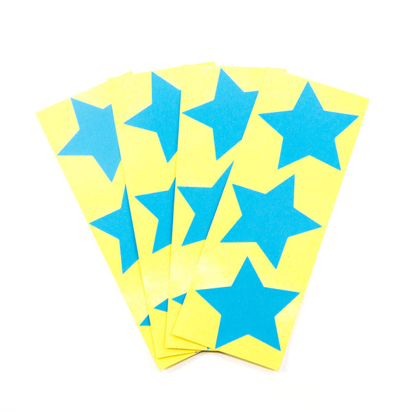 Large Neon Blue Star Stickers