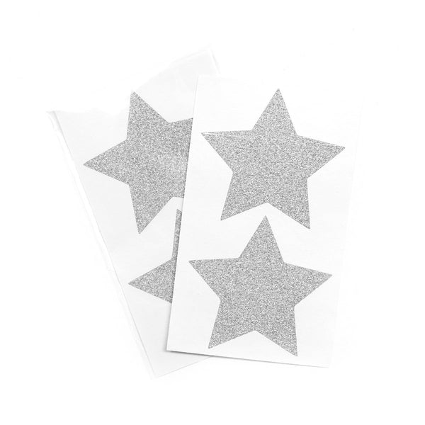 Silver Glitter Star Stickers