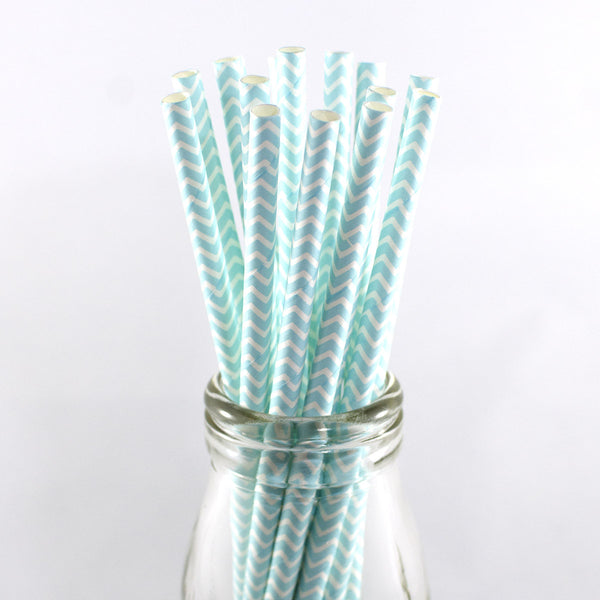 Pale Blue Chevron Straws