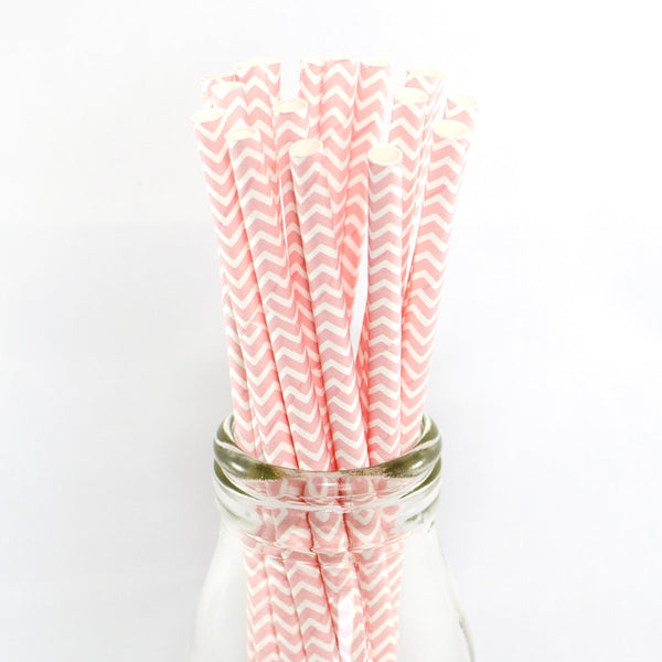 Pale Pink Chevron Straws