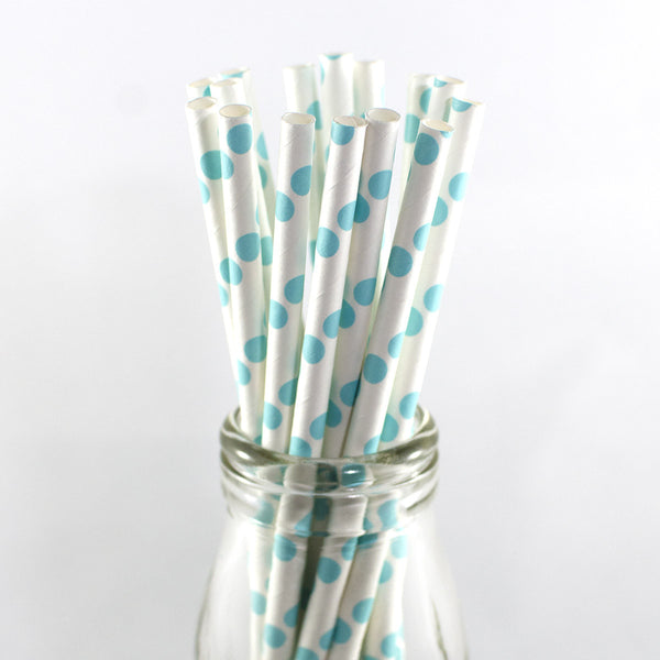 Pale Blue Polkadot Straws