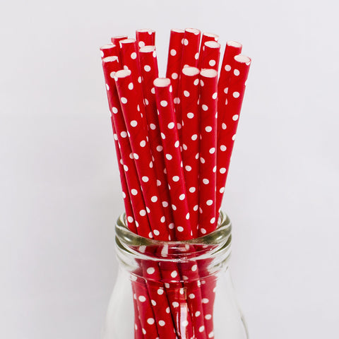 Red White Swiss Dot Straws