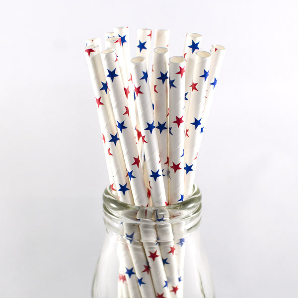 Red Blue Stars Straws