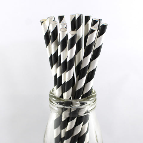Black White Stripe Straws